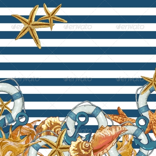 GraphicRiver Summer Card with Sea Shells Anchor Lifeline 8109371