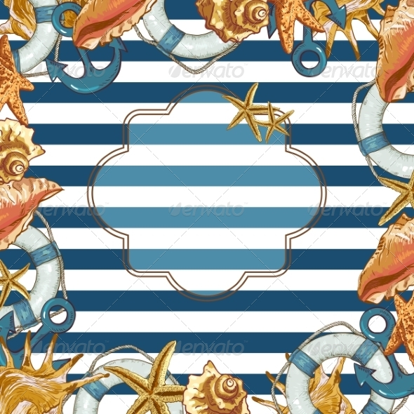 GraphicRiver Summer Card with Sea Shells Anchor Lifeline 8109418