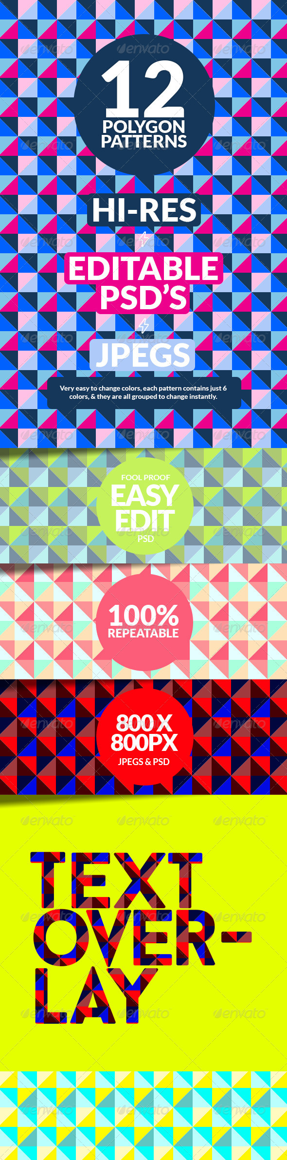 GraphicRiver Polygon Repeatable Pattern Backgrounds 8109433
