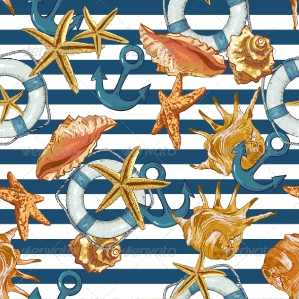 GraphicRiver Summer Seamless Pattern with Shells and Anchor 8109574