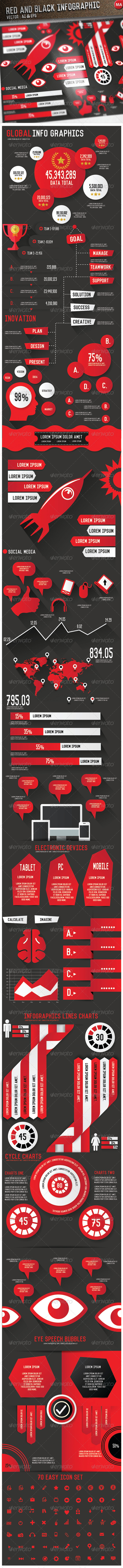 GraphicRiver Red & Black Infographics 8110084
