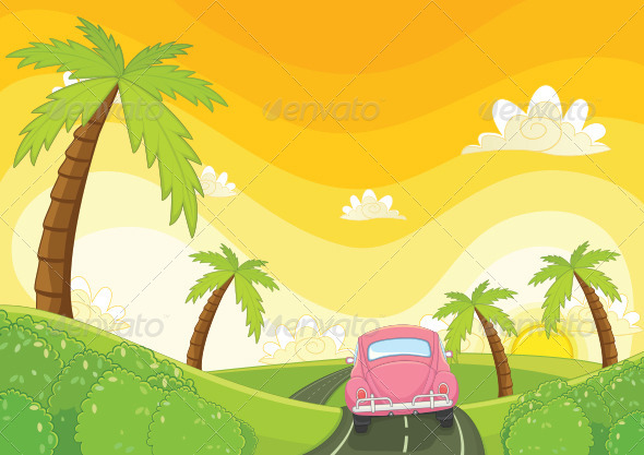 GraphicRiver Car and Sunset Background 8110462
