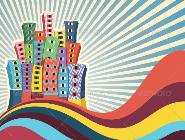 GraphicRiver Retro City Background 8110770