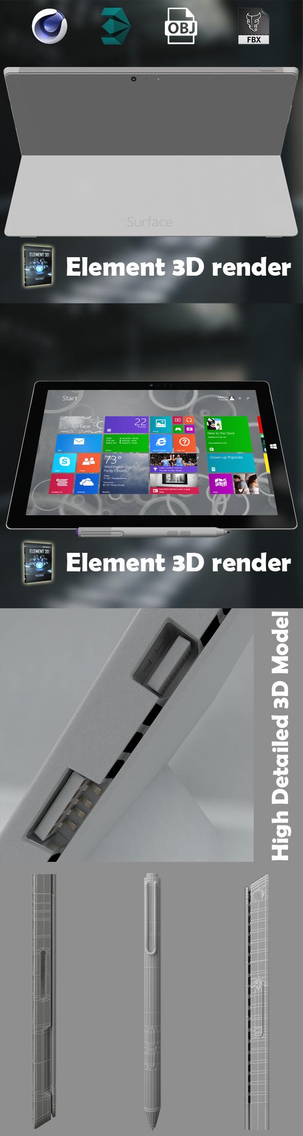 3DOcean Element 3D Microsoft surface pro 3 8111226