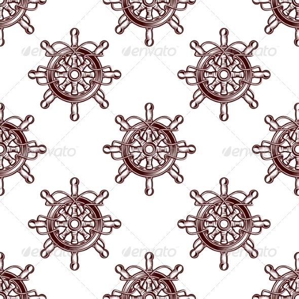GraphicRiver Seamless Pattern of an Old-Fashioned Ship Wheel 8111250