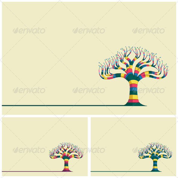 GraphicRiver Abstract Trees Background Set 8111566