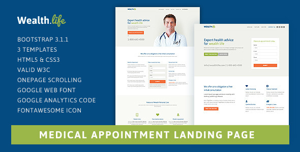 ThemeForest Wealth-Life Medical Landing Page 8028335