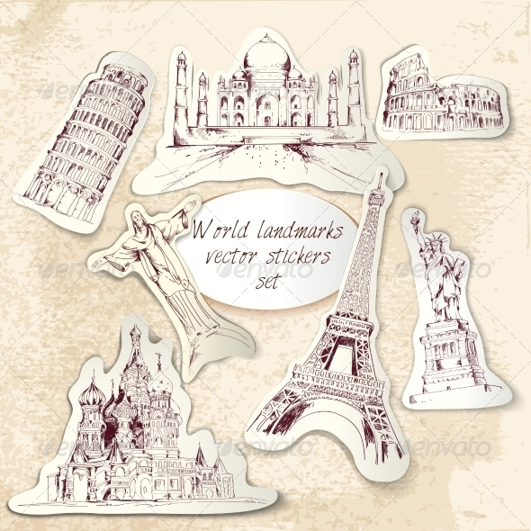 GraphicRiver World Landmark Stickers 8112617