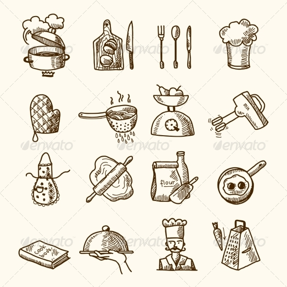 GraphicRiver Cooking Icons Sketch 8112630