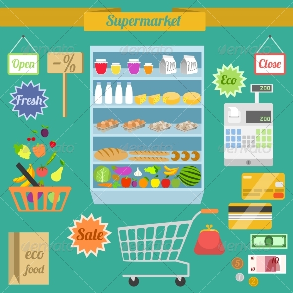 GraphicRiver Supermarket Flat Set 8112678