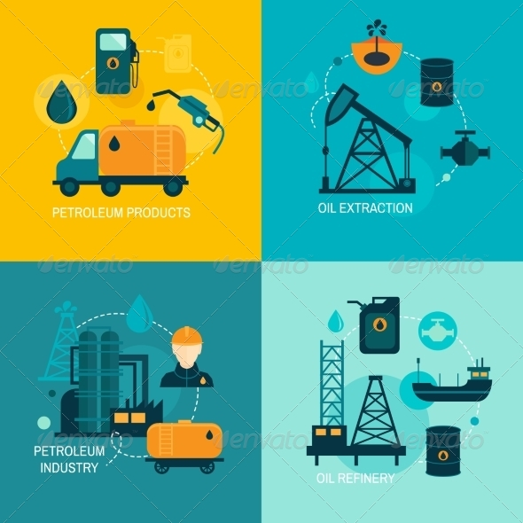 GraphicRiver Oil Industry Flat Composition 8112680