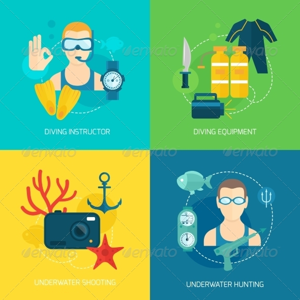 GraphicRiver Diving Icons Composition 8112685