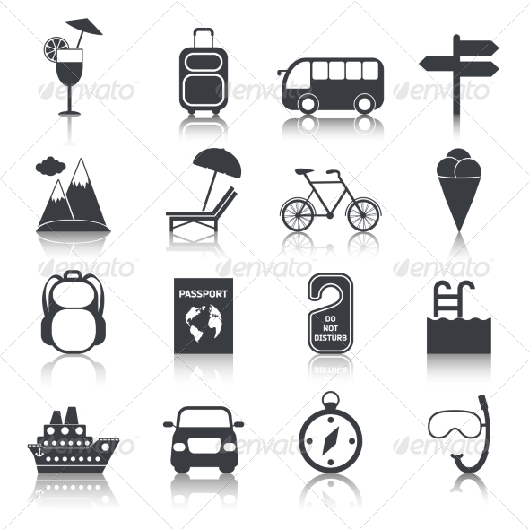 GraphicRiver Travel Black Icons Set 8112690