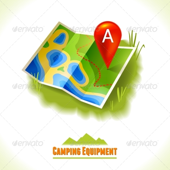 GraphicRiver Camping Symbol Travel Map 8112710