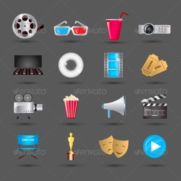 GraphicRiver Cinema Icons Set 8112720
