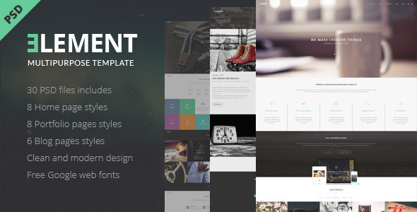 ELEMENT – Multipurpose PSD Template, clean, minimal and modern PSD Template good for your business and creative portfolio sites. 30 PSD files included, 31
