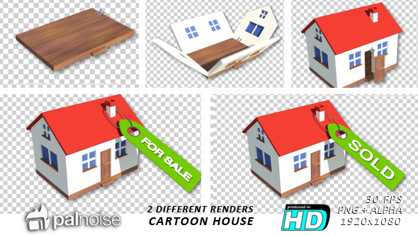 Real Estate House Cartoon Style