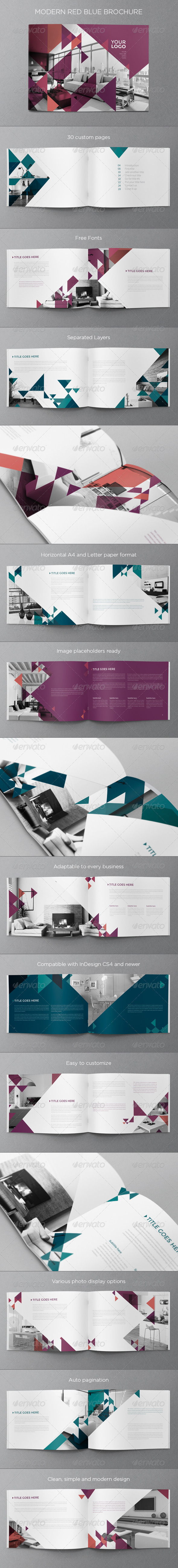 GraphicRiver Modern Red Blue Brochure 8113627