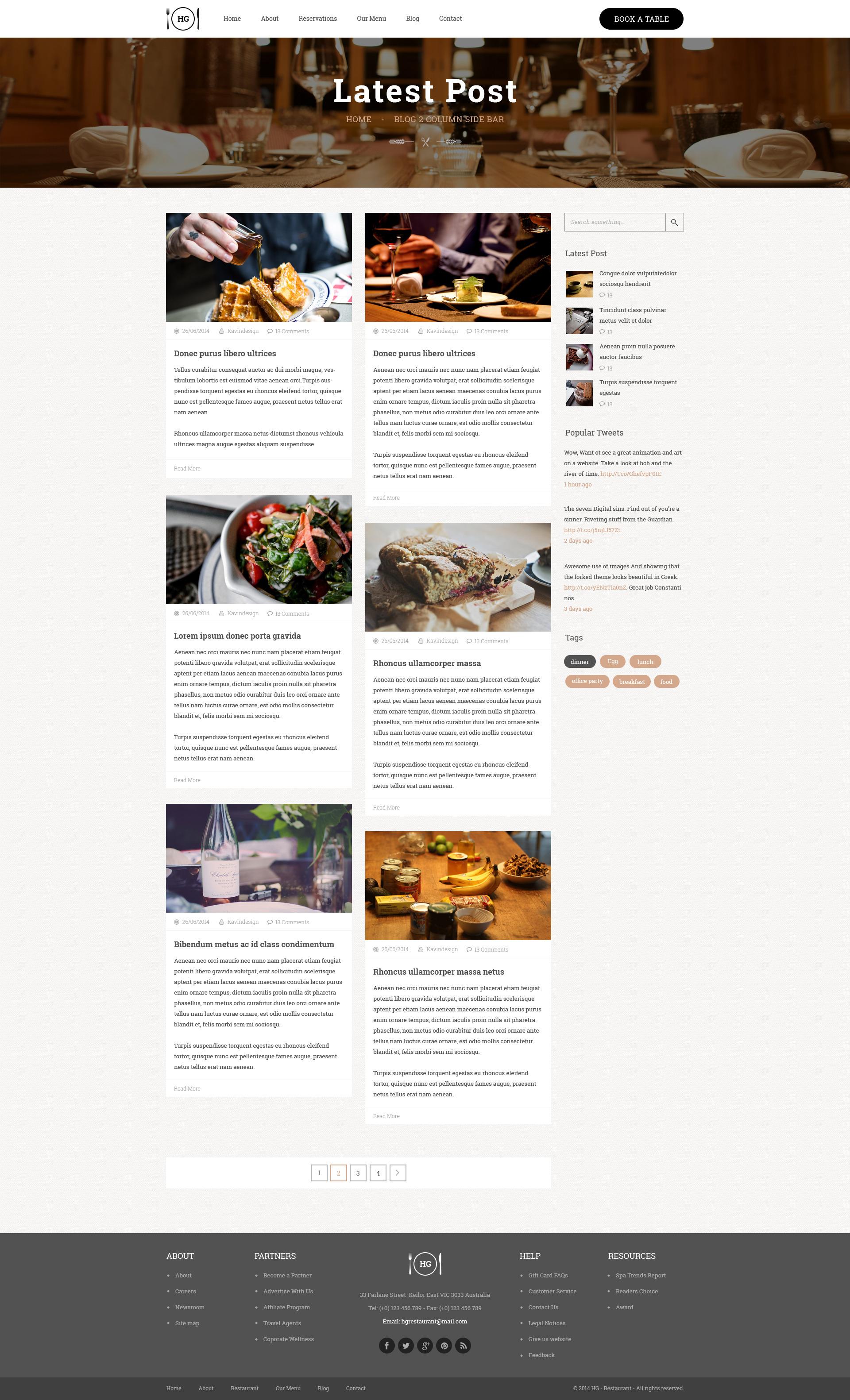 HG Restaurant PSD Template