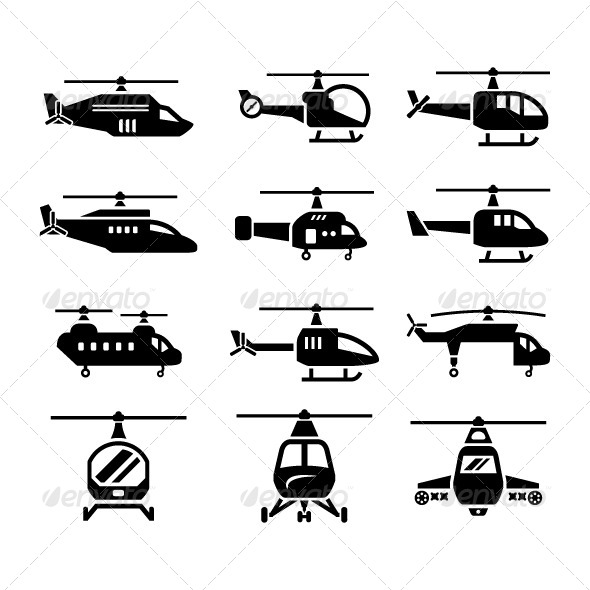 GraphicRiver Set Icons of Helicopters 8114194