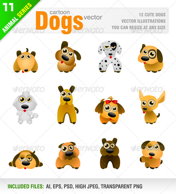 GraphicRiver 12 Cartoon Dogs 8114961