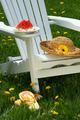 Closeup of slice of watermelon on adirondack chair - PhotoDune Item for Sale