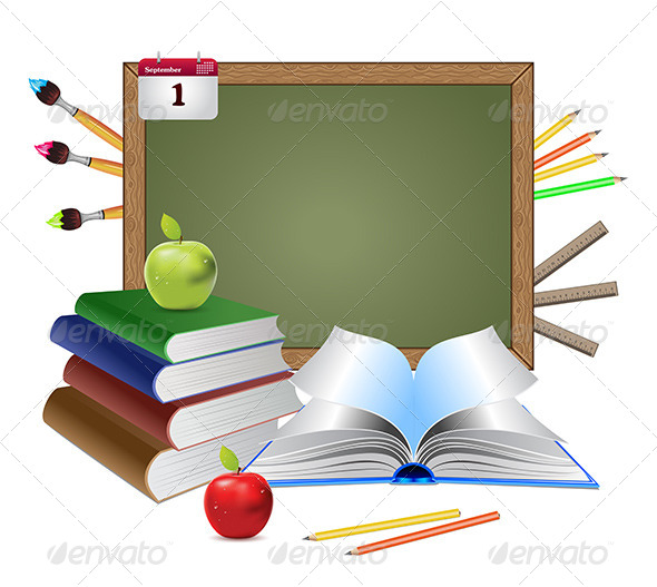 GraphicRiver Blank Chalkboard and Books 8116725
