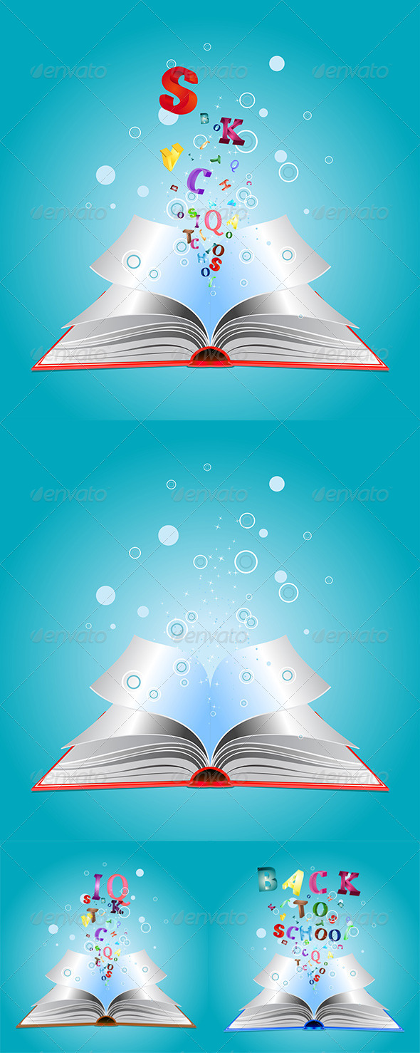 GraphicRiver Opened Book with Letters 8116759