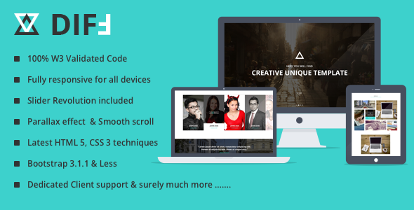 ThemeForest DIFF Responsive HTML 5 Bootstrap Template 8017774