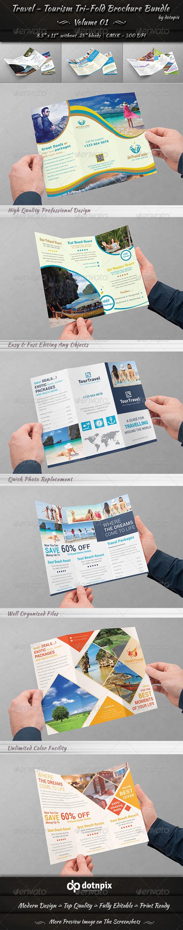 GraphicRiver Travel Tourism Tri-Fold Brochure Bundle v1 8116959