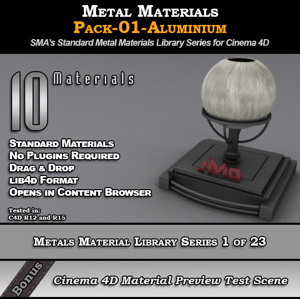 3DOcean Metals Material Pack-01-Aluminium for Cinema 4D 8117305