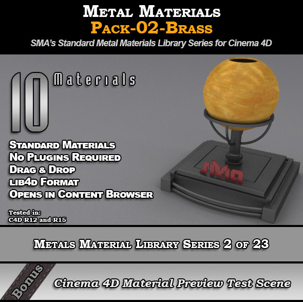 Metals Material Pack-02-Brass for Cinema 4D - 3DOcean Item for Sale