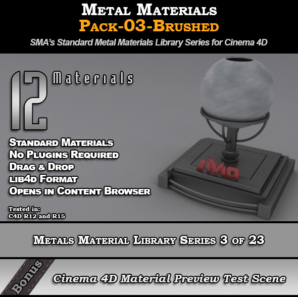 3DOcean Metals Material Pack-03-Brushed for Cinema 4D 8117342