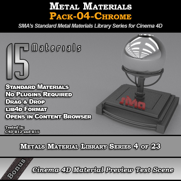 Metals Material Pack-04-Chrome for Cinema 4D - 3DOcean Item for Sale