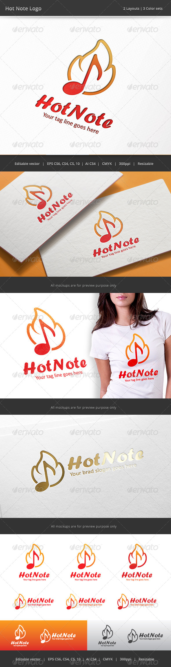 GraphicRiver Hot Note Music Logo 8117374