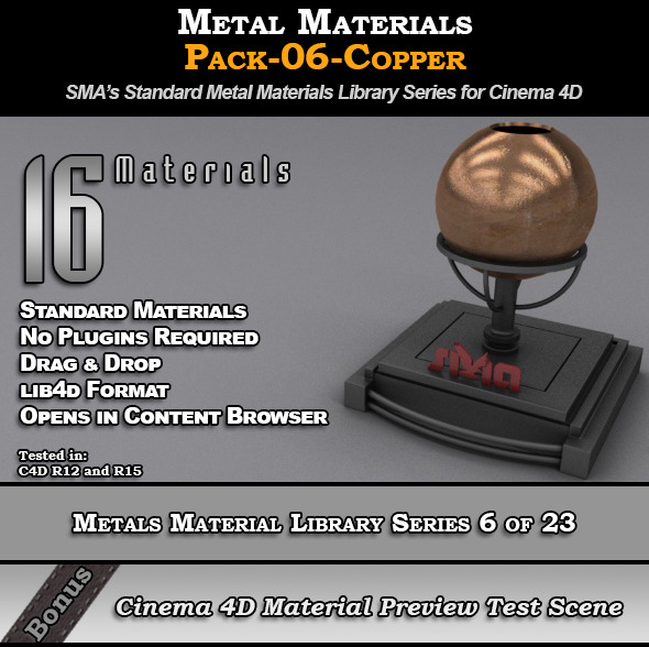 3DOcean Metals Material Pack-06-Copper for Cinema 4D 8117444