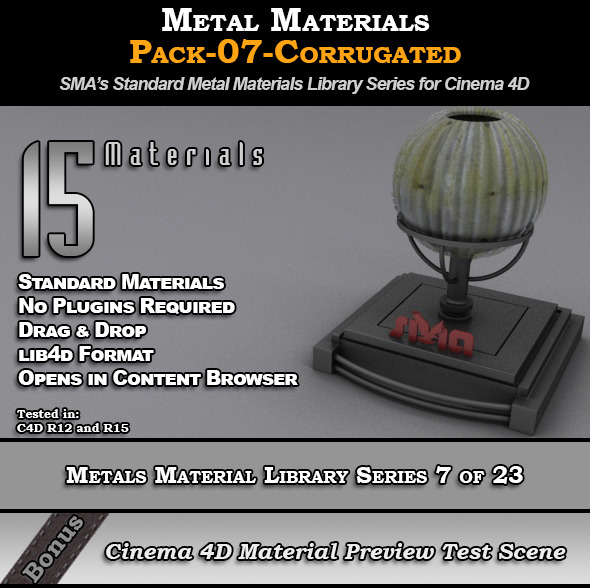 Metals Material Pack-07-Corrugated for Cinema 4D - 3DOcean Item for Sale