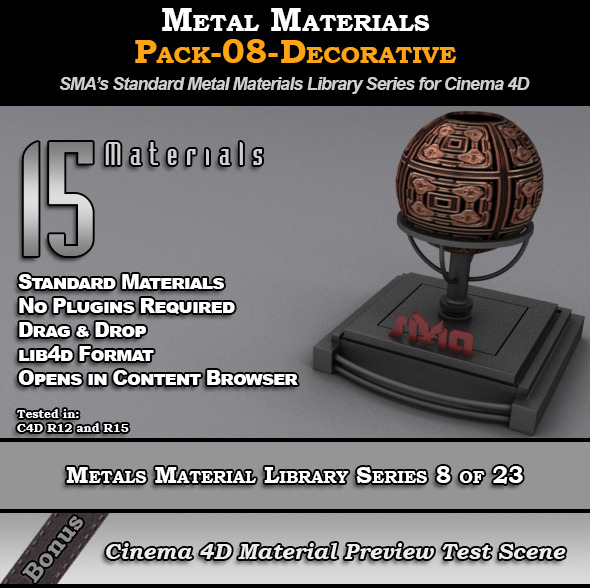 3DOcean Metals Material Pack-08-Decorative for Cinema 4D 8117495
