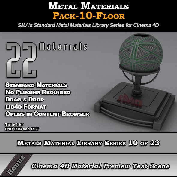 Metals Material Pack-10-Floor for Cinema 4D - 3DOcean Item for Sale