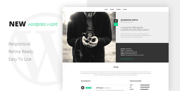 ThemeForest NEW Retina Ready WordPress Vcard Theme 8085509