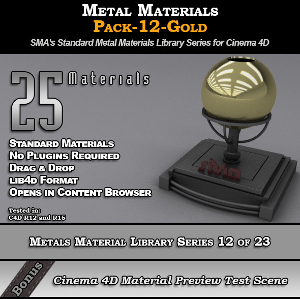3DOcean Metals Material Pack-12-Gold for Cinema 4D 8117648