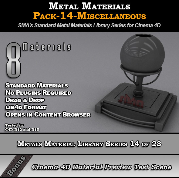 3DOcean Metals Material Pack-14-Misc for Cinema 4D 8117729