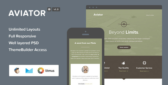 ThemeForest Aviator Responsive Email & Themebuilder Access 7985761