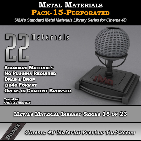 3DOcean Metals Material Pack-15-Perforated for Cinema 4D 8117741