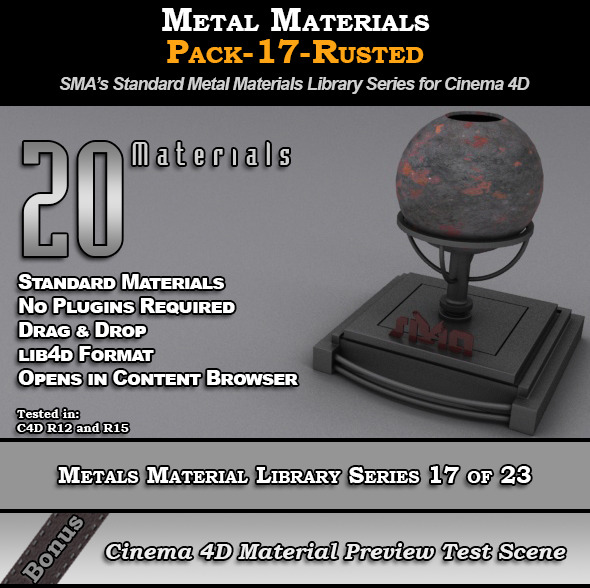 Metals Material Pack-17-Rusted for Cinema 4D - 3DOcean Item for Sale