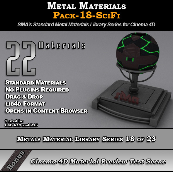 3DOcean Metals Material Pack-18-SciFi for Cinema 4D 8117762