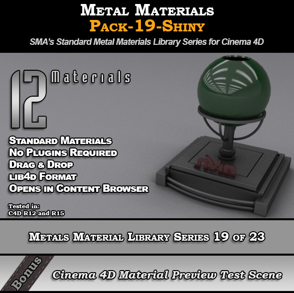 Metals Material Pack-19-Shiny for Cinema 4D - 3DOcean Item for Sale