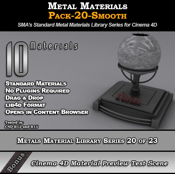 Metals Material Pack-20-smooth for Cinema 4D - 3DOcean Item for Sale