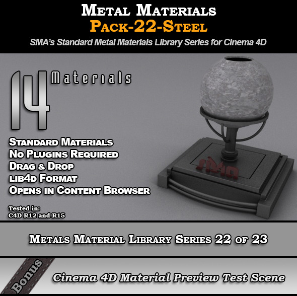 Metals Material Pack-22-Steel for Cinema 4D - 3DOcean Item for Sale