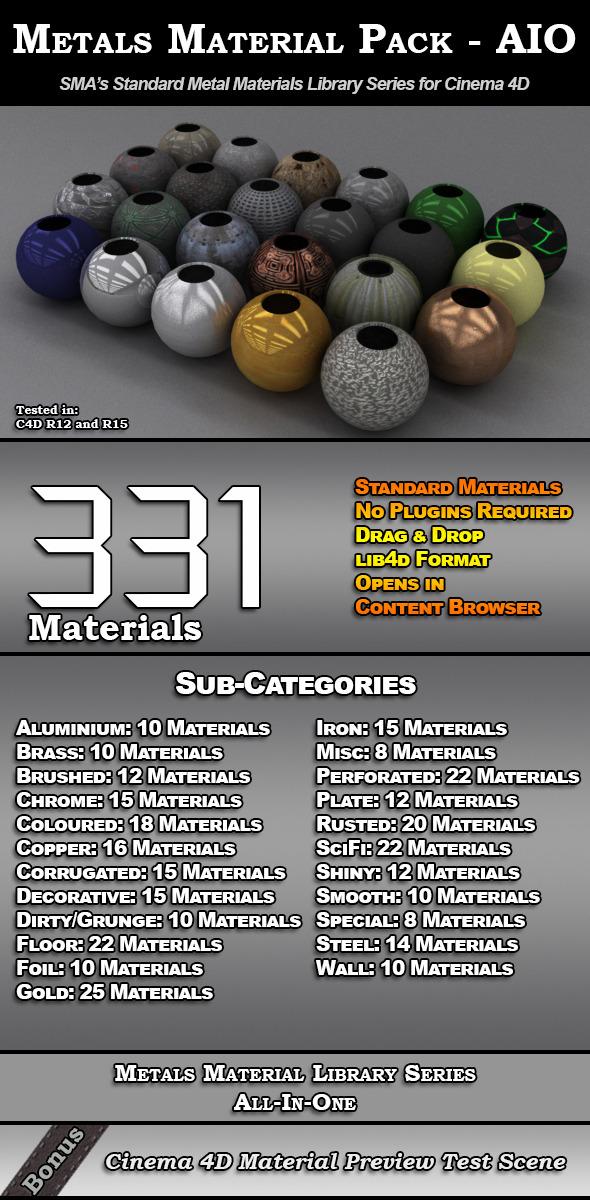 3DOcean 331 Standard Metal Materials Pack AIO for C4D 8117974
